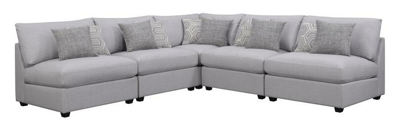 551511 5 pc Claude II grey linen like fabric modular sectional sofa