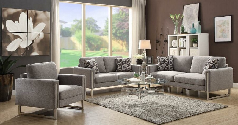 551241 2 pc Orren ellis mullens stellan grey flat weave fabric sofa and love seat set with stainless steel accents