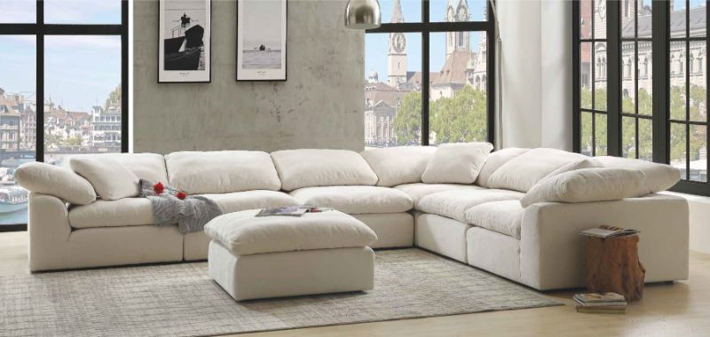 Acme 55130-31 6 pc Naveen ivory linen fabric down feather foam seating modular sectional sofa