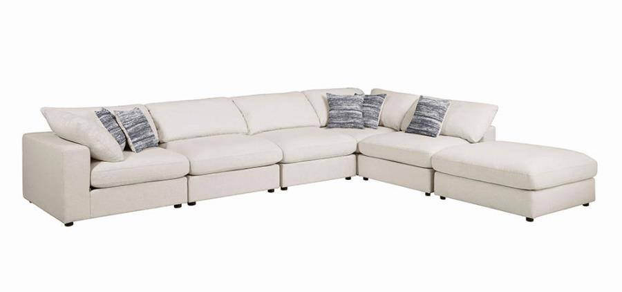 551321B 6 pc Latitude run artzt serene porch and den erin beige linen blend fabric modular sectional sofa