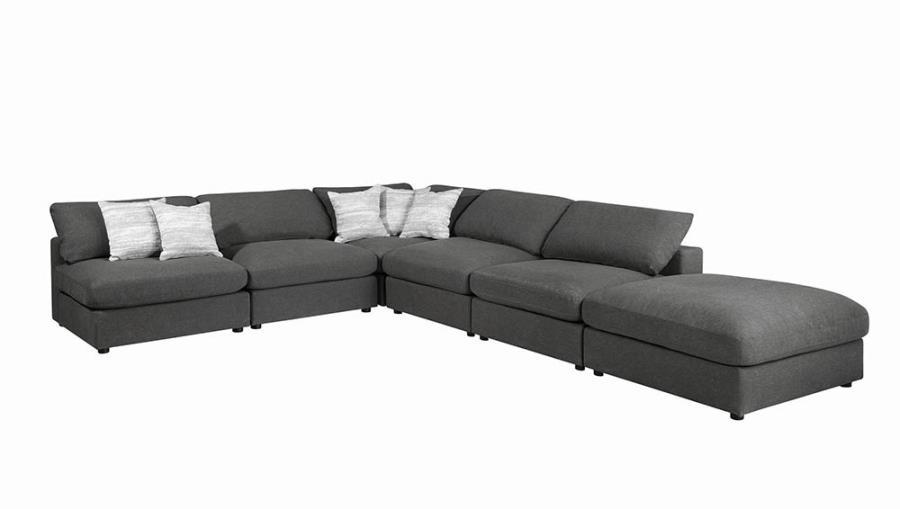 551324 6 pc Latitude run artzt serene porch and den erin charcoal linen blend fabric modular sectional sofa