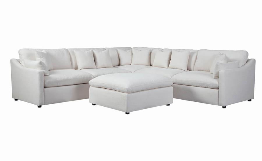 551004 6 pc Hobson off white linen like fabric modular feather blend wrap sectional sofa