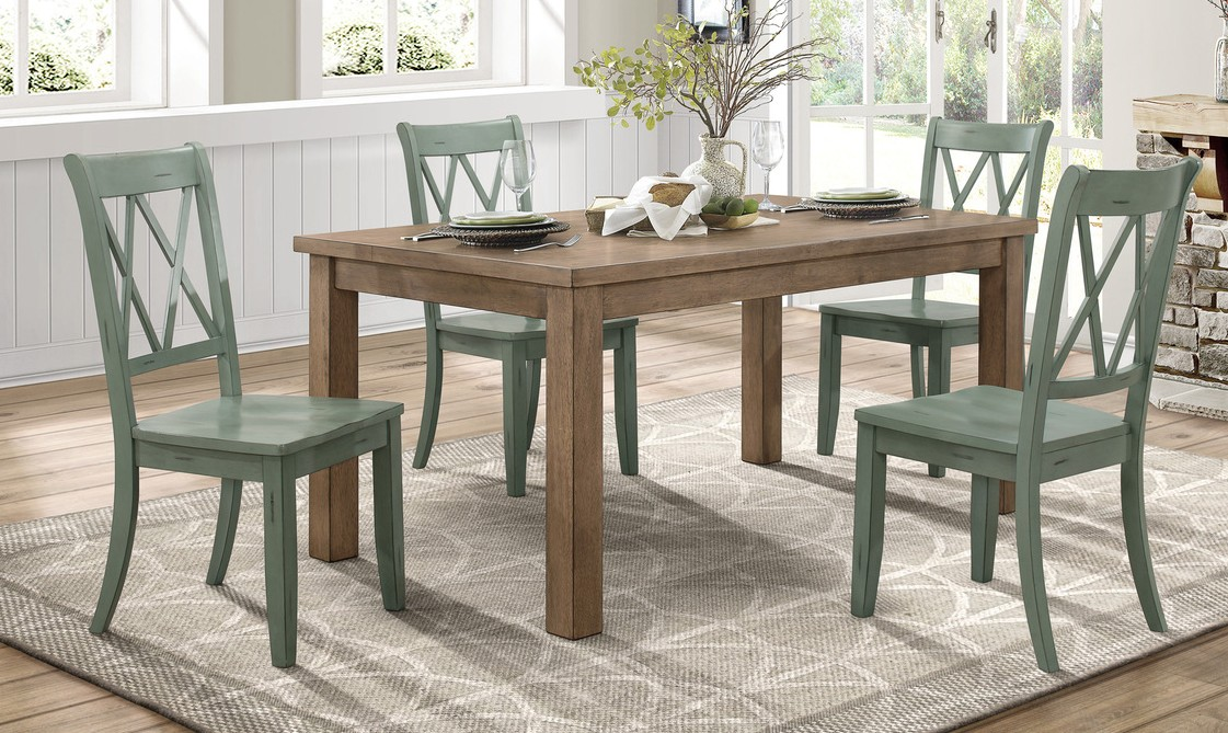 Homelegance 5516-66-TLS 5 pc Canora grey Janina natural finish wood dining table set teal color chairs