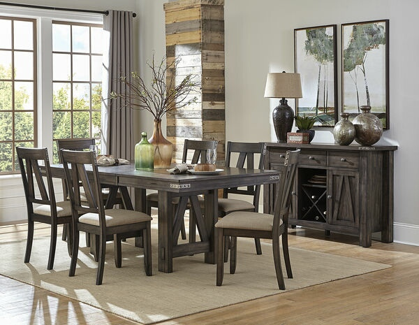 HE-5518-78 7 pc Mattawa collection country style brown and gray undertone finish wood dining table set