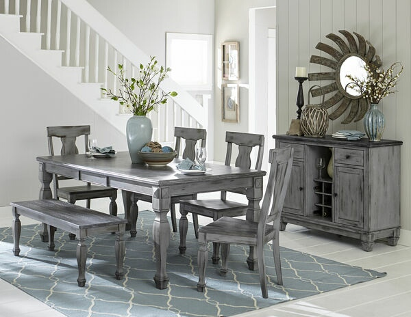 HE-5520-78 6 pc Fulbright collection country weathered gray rub through finish wood dining table set with bench