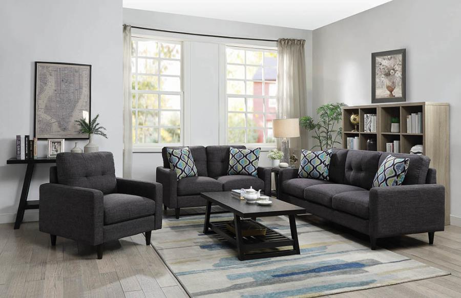 552001-02 2 pc Ivy bronx lainey watsonville grey linen like fabric sofa and love seat set