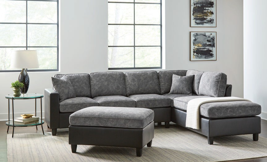 552040 2 pc Darby home co Vinny pewter printed velvet fabric sectional sofa with reversible chaise