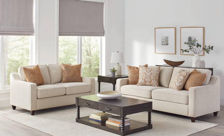 552061-62 2 pc Gracie oaks tyndall christine beige chenille fabric sofa and love seat set