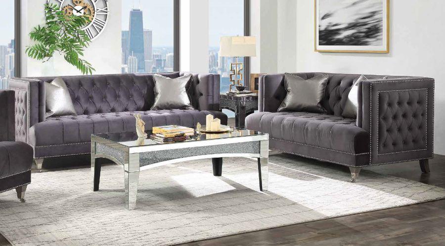 Acme 55265-66 2 pc Charlton home riverside hegio gray velvet fabric tufted backs sofa and love seat set
