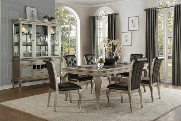 HE-5546-84 7 pc Crawford collection antique silver finish wood dining table set with glass top