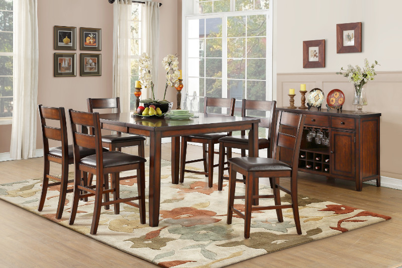 Home Elegance HE-5547-36 7 pc Mantello cherry finish wood counter height dining table set