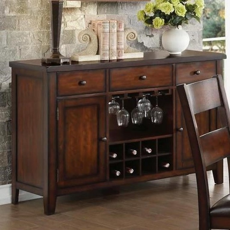 Home Elegance HE-5547-40 Mantello cherry finish wood server console buffet cabinet