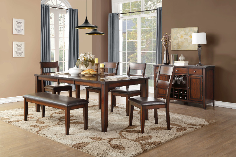 Home Elegance HE-5547-78-6PC 6 pc Mantello cherry finish wood dining table set with bench