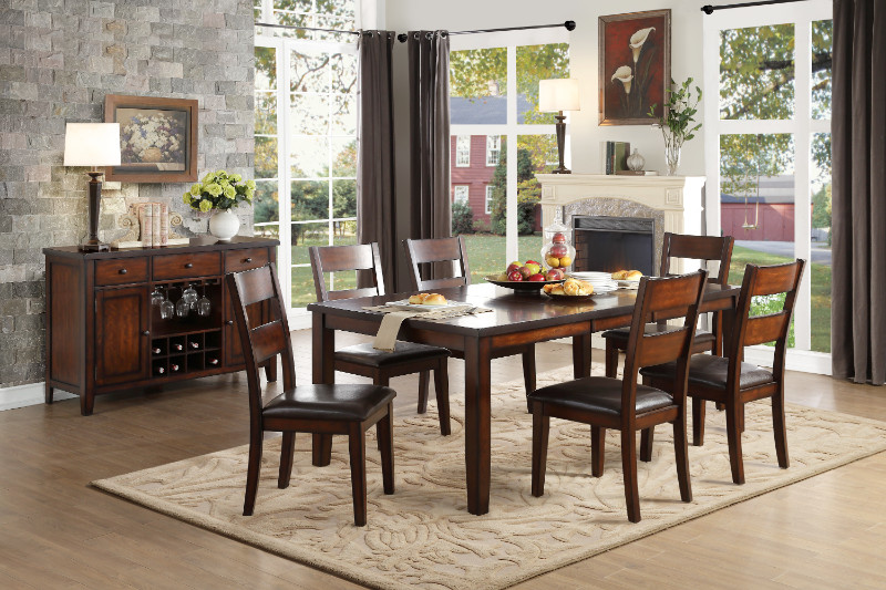 Home Elegance HE-5547-78 7 pc Mantello cherry finish wood dining table set