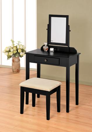 AD555-BK Black finish wood 3 pc bedroom vanity set with mirror and stool