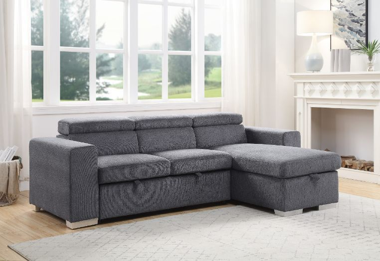 Acme 55530 Natalie drake gray fabric sectional sofa with pop up chaise with storage and sleep area.