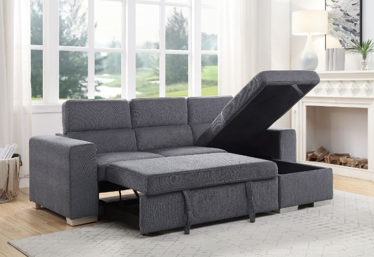Acme 55530 Natalie drake gray fabric sectional sofa with pop up chaise with storage and sleep area.  Sofa features a pop up chaise with storage and a pull out  pop up sleep area.