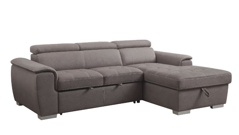 Acme 55535 Genoveve Reyes II light brown fabric sectional sofa with pop up chaise with storage