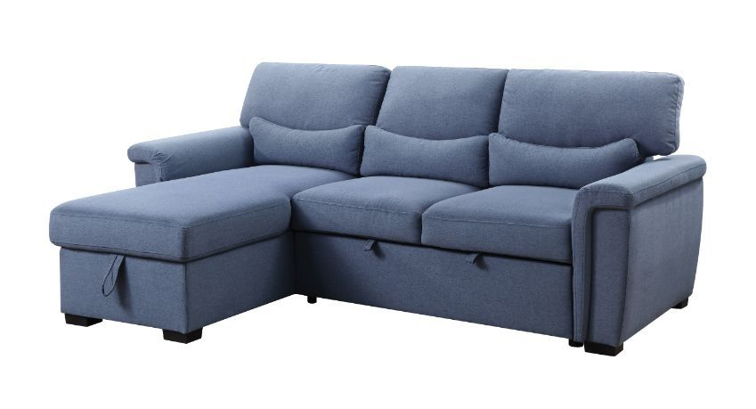 Acme 55540 Genoveve drake blue fabric sectional sofa with pop up chaise with storage