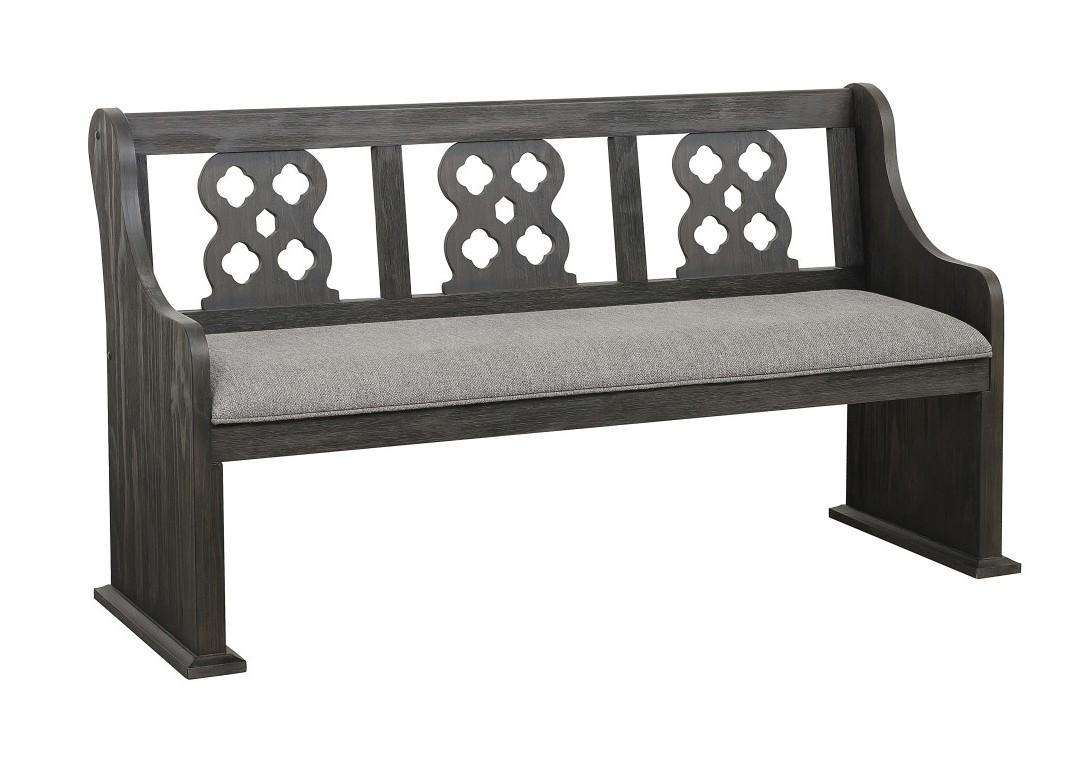HE-5559N-14A Darby home co arasina distressed dark pewter finish wood church pew bench style dining bench