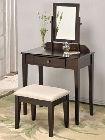555ESP Espresso finish wood 3 pc bedroom vanity set with mirror and stool