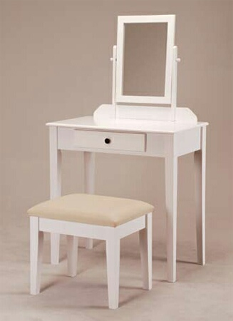 555WH White finish wood 3 pc bedroom vanity set with mirror and stool