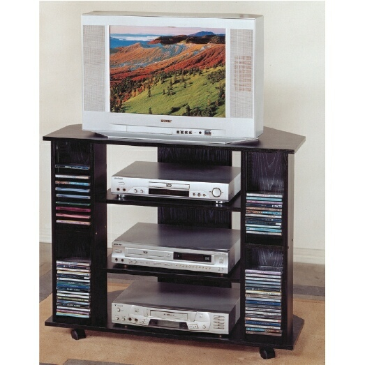 556BK Black finish wood TV stand with CD holders and casters