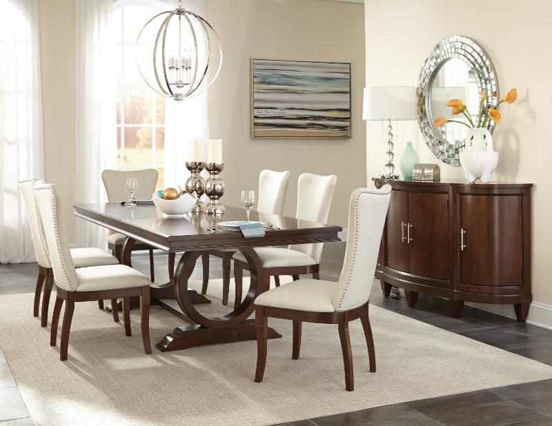 Home Elegance HE-5562-96 7 pc Oratorio cherry finish wood trestle base dining table set