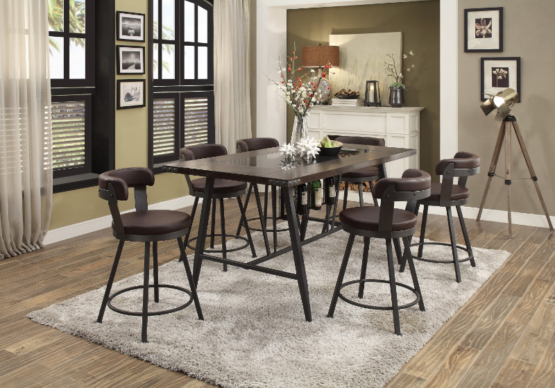 Homelegance HE-5566-7PC-BR 7 pc Appert gray metal glass insert counter height dining table set brown chairs