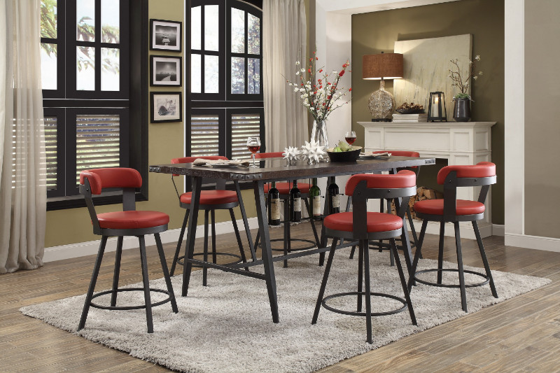 He 5566 7pc Rd 7 Pc Appert Gray Metal Glass Insert Counter Height Dining Table Set Red Chairs