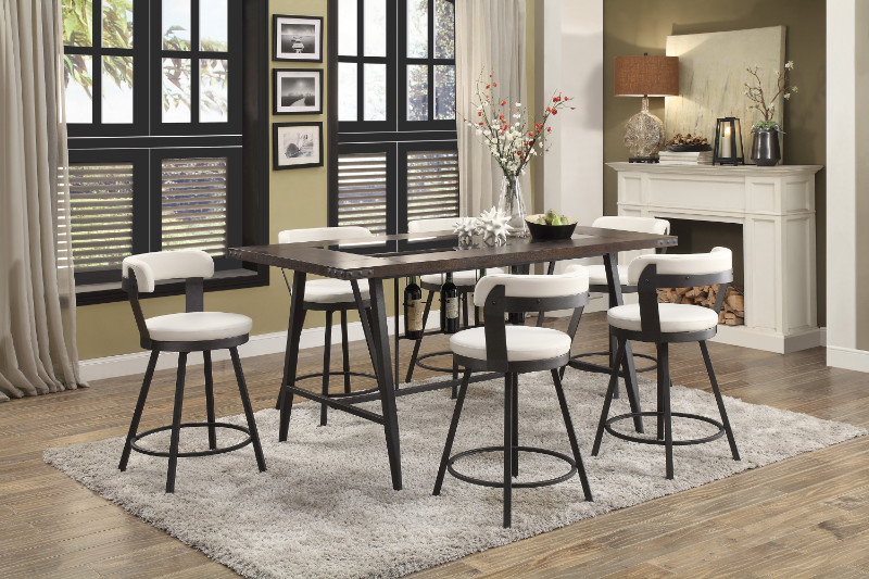 Homelegance HE-5566-7PC-WH 7 pc Appert gray metal glass insert counter height dining table set white chairs