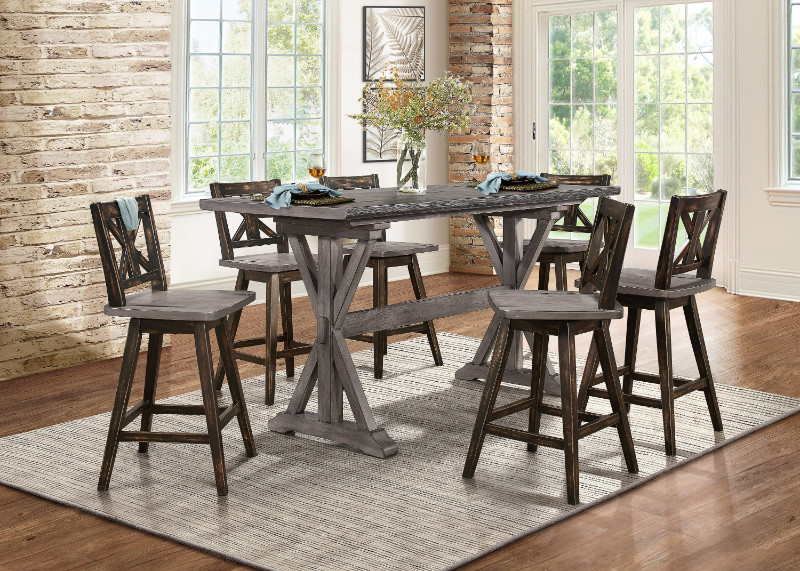Home Elegance HE-5602-36-BK 7 pc Amsonia cgrey finish wood counter height dining table set black chairs
