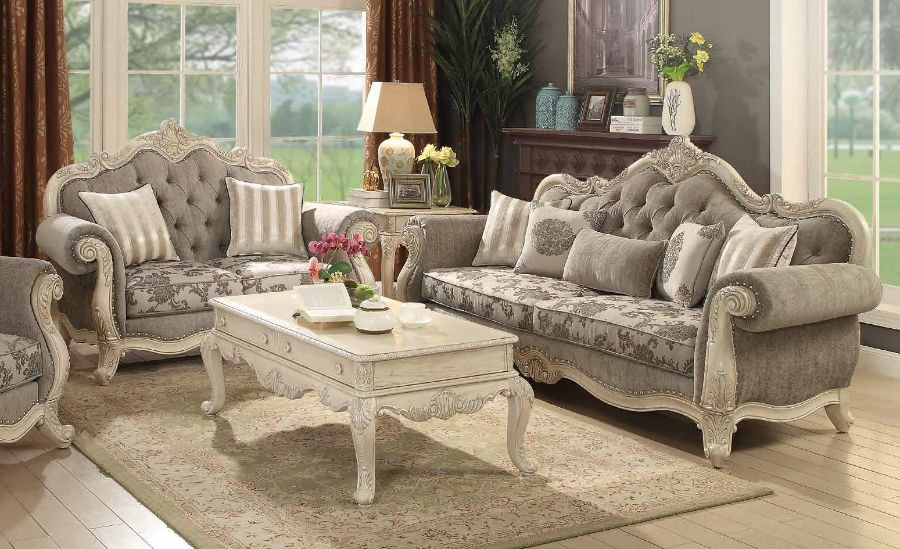 Acme 56020-21 2 pc Astoria grand ullrich ragenardus antique white finish wood grey fabric sofa and love seat set