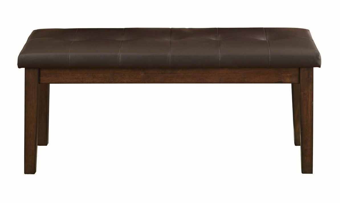 Homelegance 5614-13 Wieland light rustic brown finish wood faux leather seat bench
