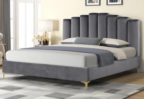 Best Master 562-GY Orren ellis dietz grey velvet fabric tufted queen bed set gold accents
