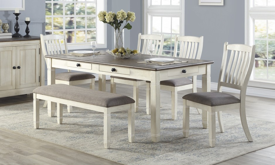 Homelegance 5627NW-72-6PC 6 pc Willow bend antique white rosy brown finish wood dining table set with bench