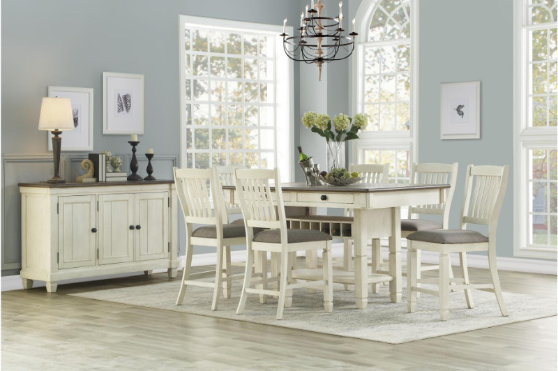 Home Elegance HE-5627W-36 7 pc Willow bend antique white rosy brown finish wood counter height dining table set