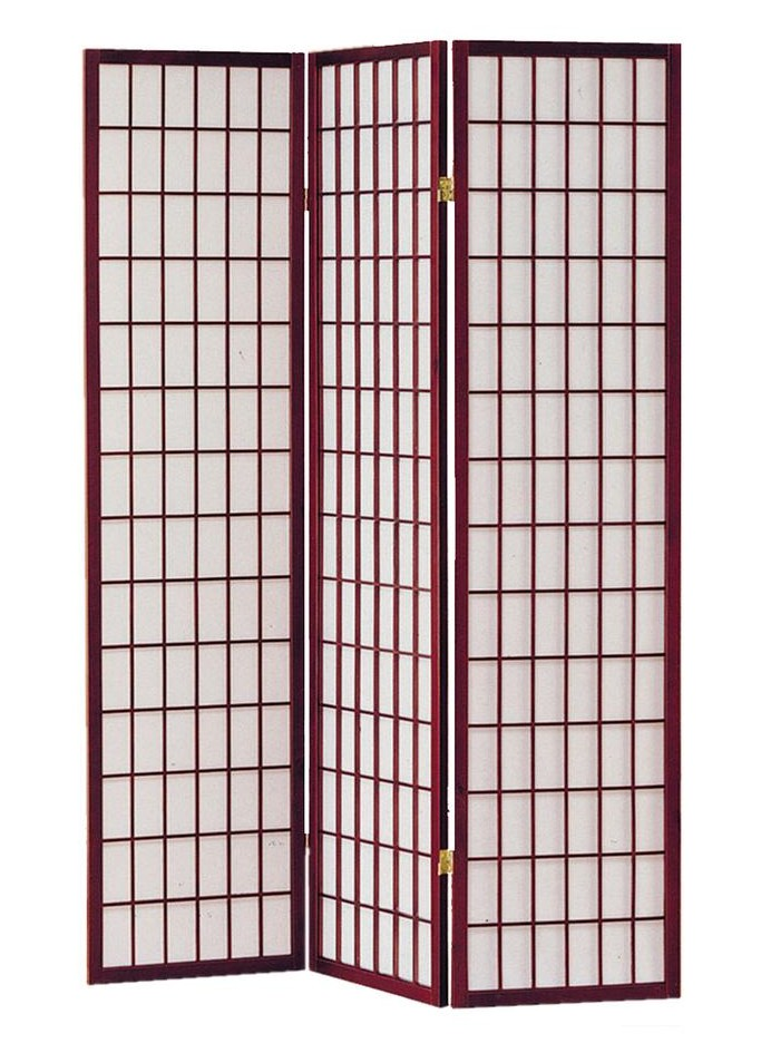 Asia Direct 566 3 panel cherry finish wood rice paper room divider shoji screen