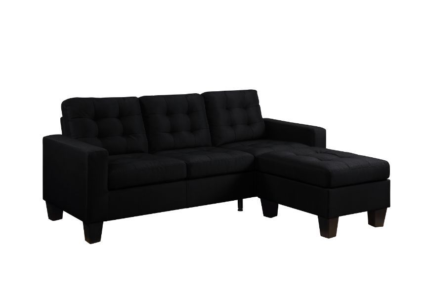 Acme 56660 2 pc Winston porter orchard earsom black linen fabric sectional sofa with reversible chaise