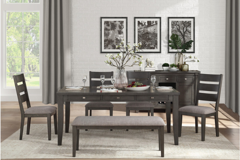 5674-6PC 6 pc Canora grey baresford weathered gray finish wood dining table set with bench