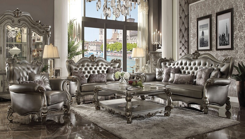 Acme 56820-21 2 pc Astoria grand bermuda versailles platinum finish wood tufted backs sofa and love seat