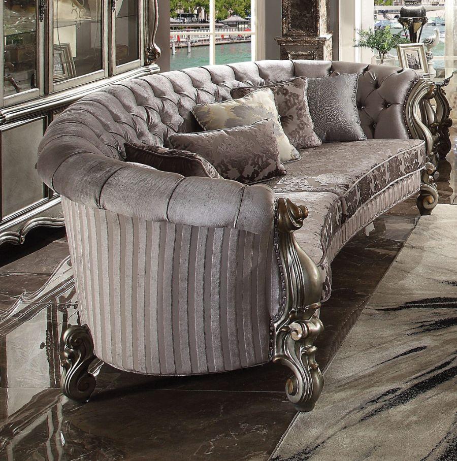 """Acme 56845 Astoria Grand bermuda versailles antique platinum finish wood carved accents 109"""" sofa"""