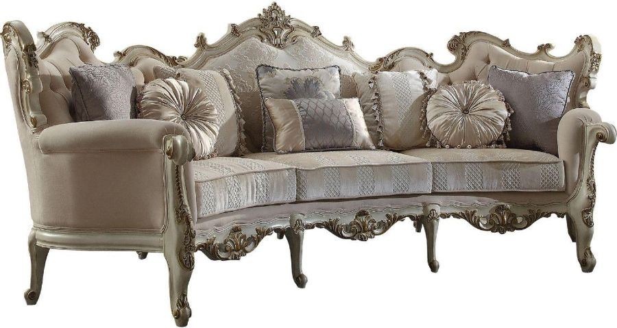"""Acme 56880 Astoria Grand tuggle picardy antique pearl finish wood carved accents 113"""" sofa"""