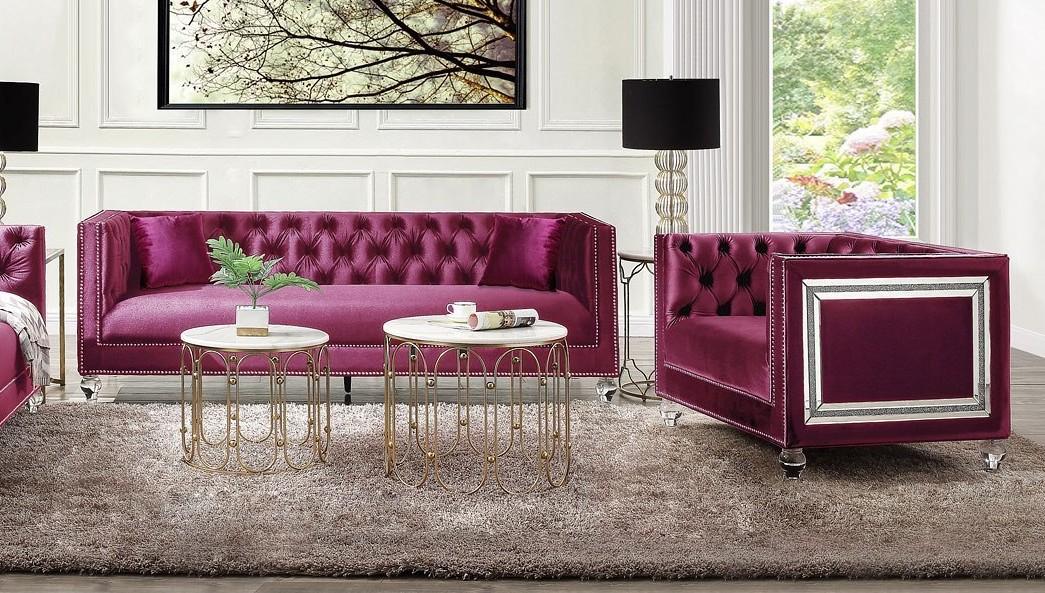 Acme 56895-96 Astoria Grand heibero burgundy tufted velvet fabric and nail head trim sofa and love seat set