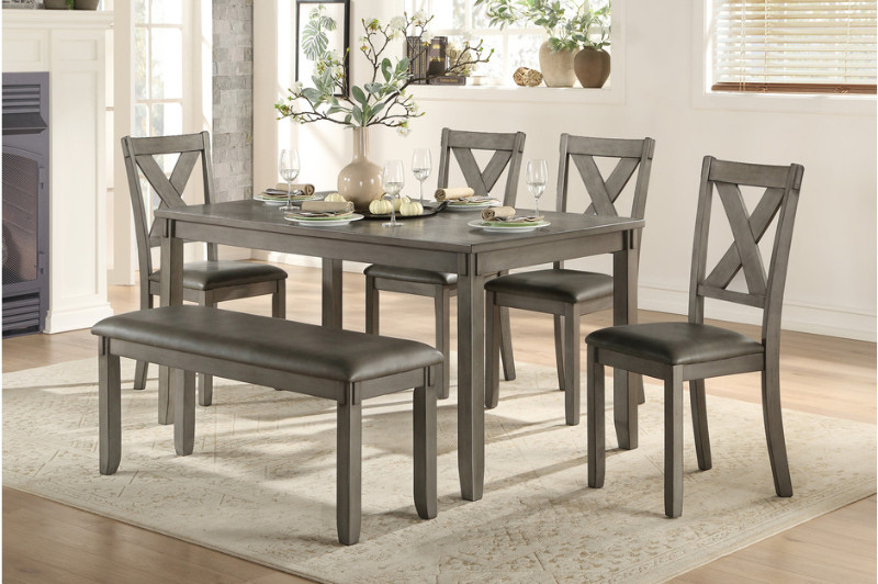 5693-6PC 6 pc Canora grey holders weathered gray finish wood dining table set with bench