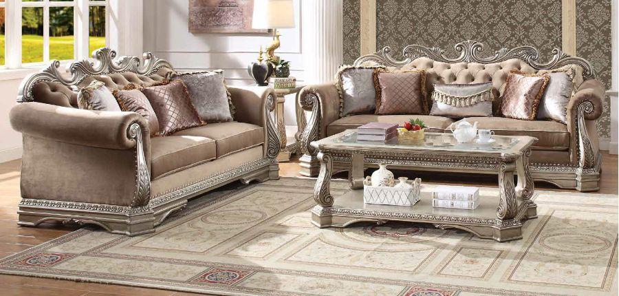 Acme 56930-31 2 pc Rosdorf park leanos northville antique silver finish wood velvet fabric sofa and love seat set