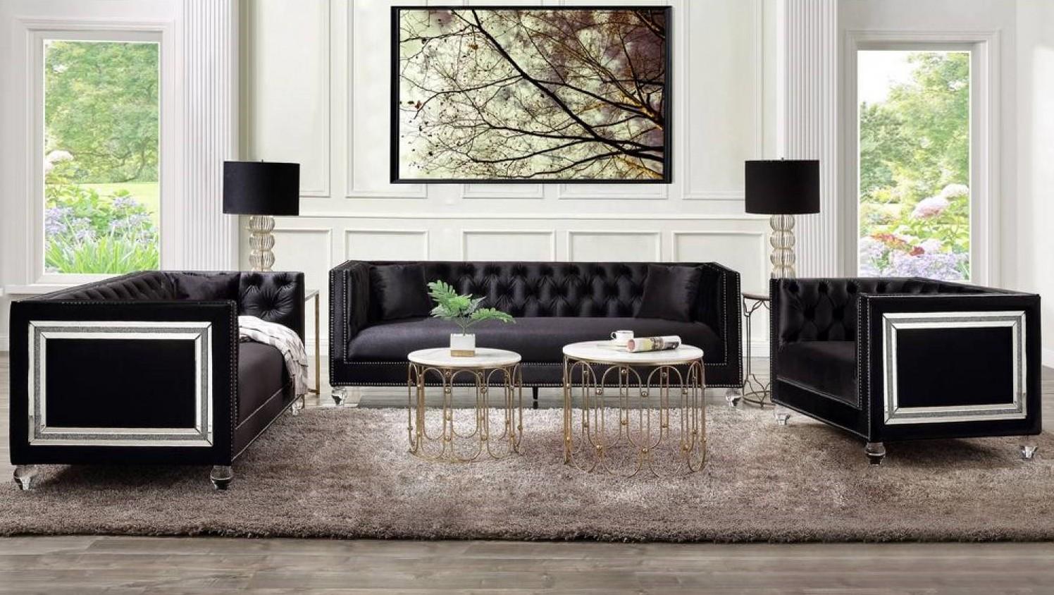 Acme 56995-96 Astoria Grand heibero black tufted velvet fabric and nail head trim sofa and love seat set