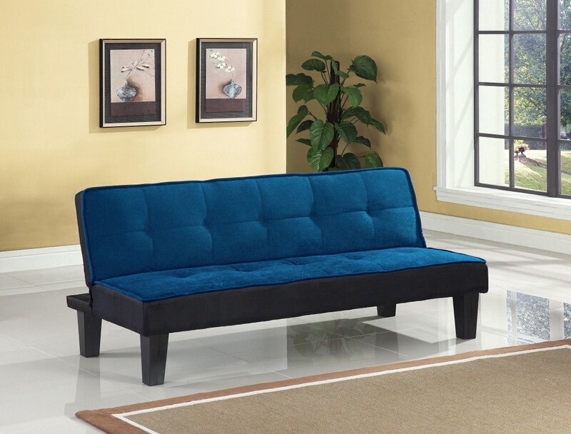 ACM57031 Hamar blue microfiber fabric upholstered small space apartment size adjustable sofa futon bed with dark finish legs