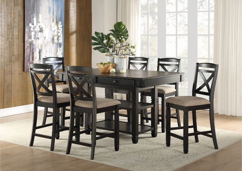 7 Pc Baywater Two Tone Black Finish Wood Fabric Padded Seats Counter Height Dining Table Set