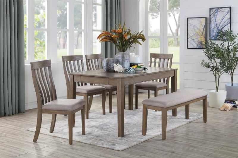 6 pc Armhurst brown finish wood fabric padded seats dining table set